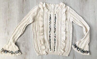 NEXT Girls Age 11 Years Pretty Floral Embroidered Cotton Knit Ruffle Jumper