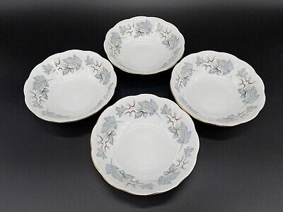 Royal Albert Silver Maple Soup Cereal Bowls Set Of 4 Bone China England