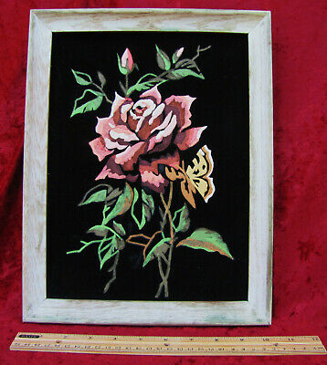 Vintage Collectible  Finished Paint by Number Rose on Black Velvet