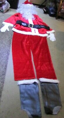 Father Christmas Suit  Trousers,Jacket,Boot Overs,Wig,Beard,Hat,Belt,Gloves