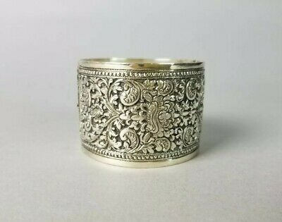 Vintage Asian Chinese Export (?) Solid Silver Etched Handmade Bangle Bracelet