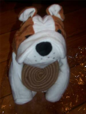 Stuffed Bulldog with Baby Blanket Storage  Brown and White  NEW