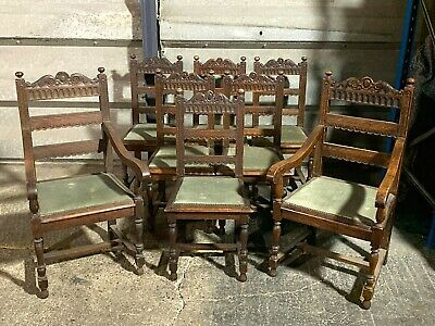 Set of 8x antique carved oak dining chairs inc carvers Victorian Gothic style