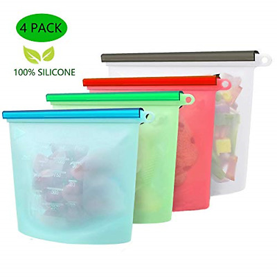 Yibaision Silicone Food Storage Bag Reusable Leakproof Ziplock Sous Vide Bag for