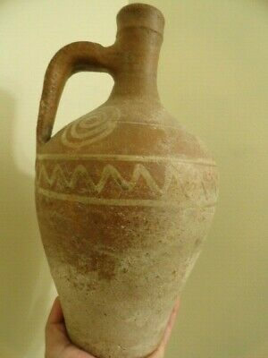 ancient pottery wine urn urn antique painted old 12 1/2 x 61/2 in roman? antique