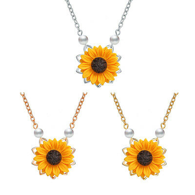 Fashion Women Sunflower Pearl Pendant Necklace Long Chain Charm Jewelry Gifts US