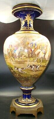 French Sevres Style Porcelain Cobalt Urn Hand Painted Steeplechase Horses & Dogs