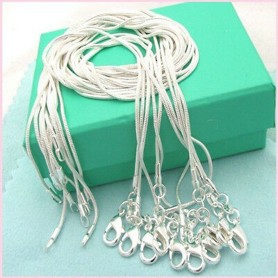 Wholesale 925 Sterling Solid Silver 1MM Snake Chain Necklace Fits Pendant 10pcs
