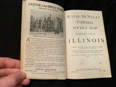 Antique 1915 Rand McNally Indexed Pocket Map Book Illinois Railroad Shippers