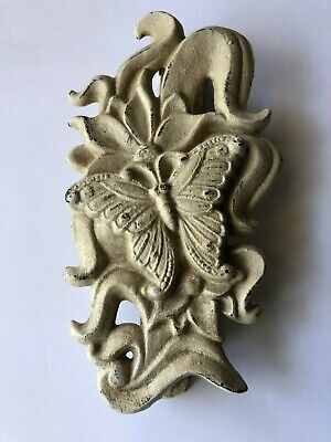 Vintage Door Knocker Heavy Cast Metal Butterfly Beige
