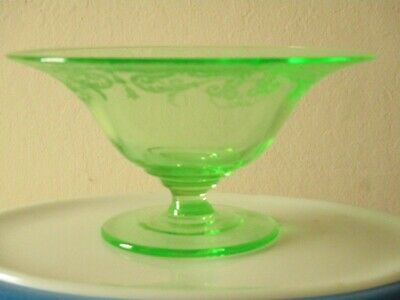 Vintage Green Depression Glass Footed Compote, Candy Bowl Dish Etched Antique