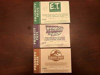 Universal Studios Hollywood Priority Pass Front Back To The Future Jurassic Park