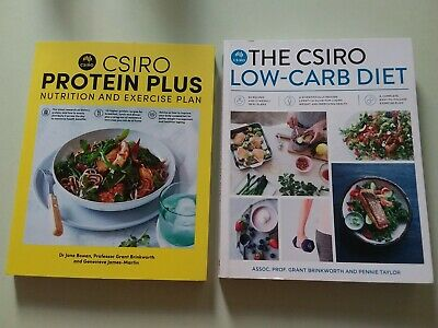 2 Books Csiro Wellbeing Low Carb Diet & Protein Plus Nutrition / Exercise Vg
