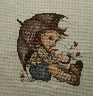 Hummel Boy with Umbrella Rain Flowers Cross Stitch Completed Finished