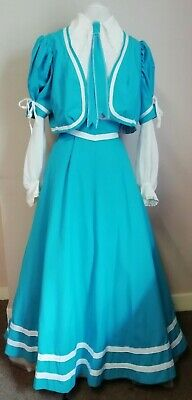 "Blue Edwardian style 2 piece costume with train.   34"" Bust"