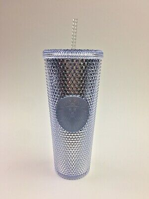 Holiday 2019 Starbucks Iridescent Platinum Bling Studded Tumbler Cold Cup 24 Oz