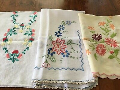 3 Hand Embroidered Gorgeous Runners And Supper Cloth.