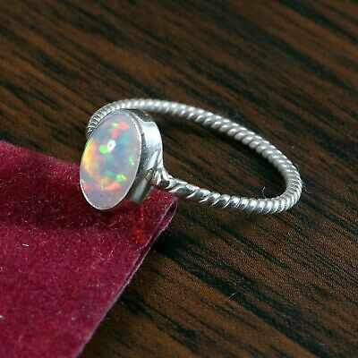 925 Sterling Silver Natural Ethiopian Welo Fire Opal Exclusive Wedding Ring #283