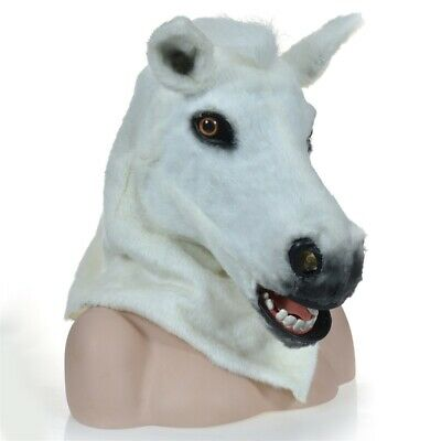 Fursuit Animal Costume Artificial Headgear White Horse Mask Moving Mouth Cosplay