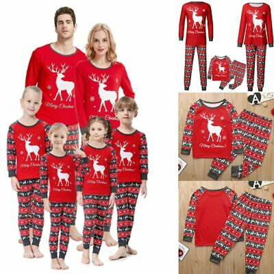 Family Matching Christmas Pyjamas Snow Deer Print Nightwear Pajamas PJs Sets NEW