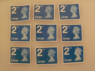 GB - 25 x 2nd Class large stamps Unfranked Stamps Off Paper Partial gum
