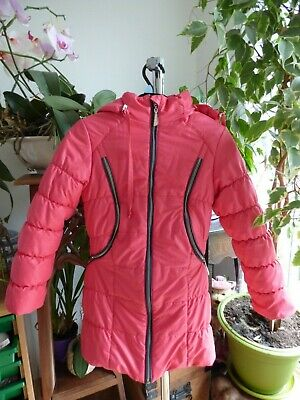 Girls hooded jacket.Age 5-6-7.Pink zip front.Quilted fleece lining