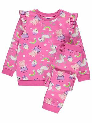George Girls Official Peppa Pig Unicorn Sweatshirt & Joggers Set