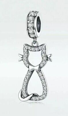 Sterling Silver Sparkling Cz Cat Kitten With Bow Pendant Charm For Bracelets