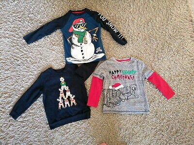 Boys Christmas Jumper And Long Sleeved Tops Size 5-6 Years