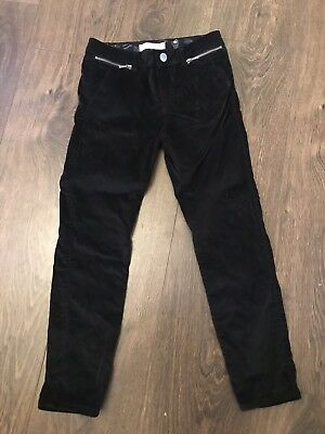 W10. Zara Black Velvet Feel Trousers Girls Age 8
