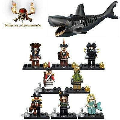 Pirates Of The Caribbean set + Ghost Shark Custom Mini Figures (Fit Lego)
