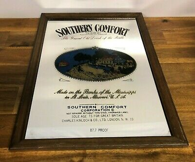 Vintage Southern Comfort Alcohol Advertising Bar Mirror Man Cave