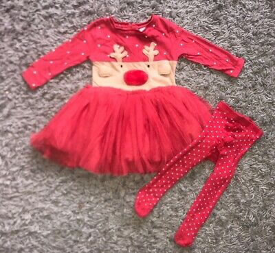 Baby Girls Next Christmas Outfit Bundle Tights Dress 6-9 Months