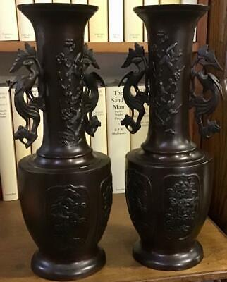 Fine PAIR Of VICTORIAN JAPANESE BRONZE VASES Large Size HIGHLY DECORATED