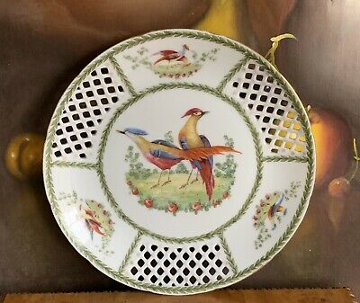 Beautiful Antique 19th Century Hand Painted Open Work Porcelain Plate
