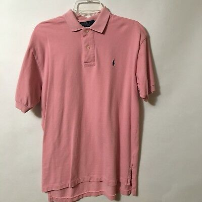 Vintage Polo Ralph Lauren Mens M Pink Polo Golf Shirt Short Sleeve hi lo hem