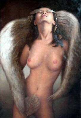 ZWPT1246 nude angel girl portrait handmade painted oil painting art on Canvas