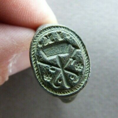 Genuine Medieval Religious Bronze Seal Ring w/Mallet and Sickle - ca.14-15th C.