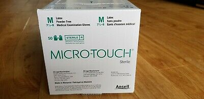 Micro Touch Latex Sterile Medical Gloves Powder Free 50 individually packed M