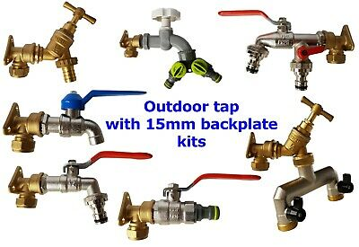 Outdoor garden tap+15 mm copper back /wall plate kits,SAME WORKING DAY DISPATCH!