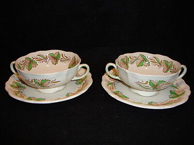 Royal Doulton HEREFORD D6165 TWO HANDLED CREAM SOUP BOWLS W/ Saucers Lot x 2