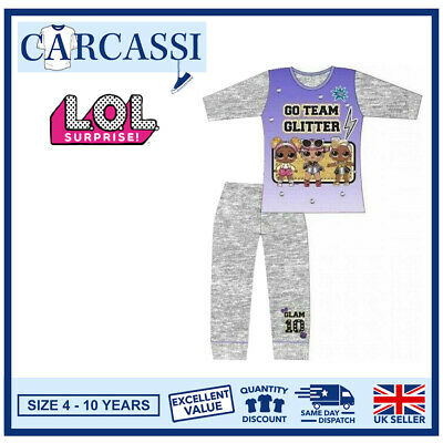 LOL Surprise Pyjamas Childrens Kids Girls Grey Purple PJs Age 4-10 Years