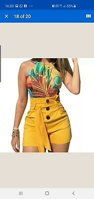 Mustard yellow Summer High Waisted Shorts Hotpants PlusSize xl 18-20