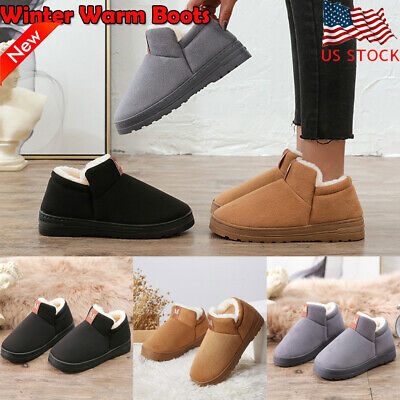 Men Women Winter Ankle Snow Boots Fur Lined Warm Solid Flat Slip On Casual Shoes