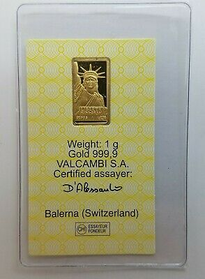 1 gram Credit Suisse Statue of Liberty Gold Bar .9999 Fine Certified 075445
