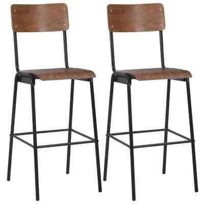 vidaXL 2x Bar Chairs Brown Solid Plywood Steel Kitchen Dining Room Seat Stool#