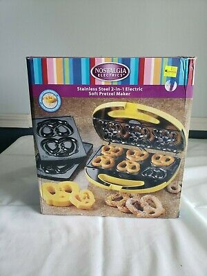 NEW in Box Nostalgia Electrics Stainless Steel 2in1 Electric Soft Pretzel Maker