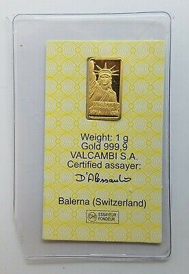 1 gram Credit Suisse Statue of Liberty Gold Bar .9999 Fine Certified 075531