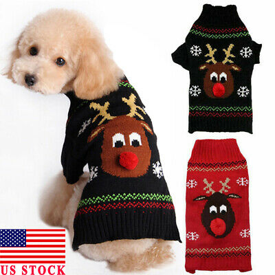 Dog Sweater Ugly Elk Christmas Small Large Xmas Pet Puppy Cat Jumper Clothes USA