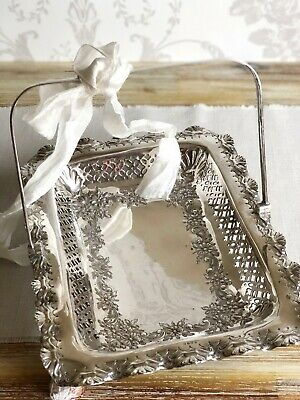 Vintage Silver plated Cake Biscuit Tray Basket Plate England Cookie BonBon Dish